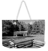Historical Cantilever Barn At Cades Cove Tennessee In Black And White Weekender Tote Bag by Kathy Clark