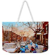 Hockey Art- Verdun Street Scene - Paintings Of Montreal Weekender Tote Bag