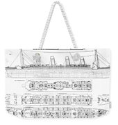 Inquiry Into The Loss Of The Titanic Cross Sections Of The Ship  Weekender Tote Bag