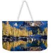 Larch Tree Reflection In Leprechaun Lake Weekender Tote Bag