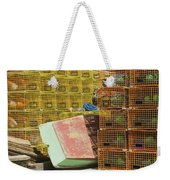 Lobster Traps And Dinghy On Coast In Maine Weekender Tote Bag