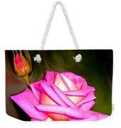 Painted Pink Rose Weekender Tote Bag