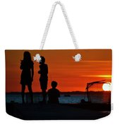 Perfect Ending - 3 Friends On A Pier As The Hot Summer Sun Sets On The Indian River Bay Weekender Tote Bag
