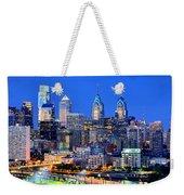 Philadelphia Skyline At Night Evening Panorama Weekender Tote Bag