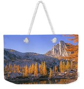 Prusik Peak Behind Larch Trees Weekender Tote Bag