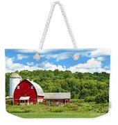 Red Farmstead In Summer Weekender Tote Bag