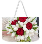 Red Rose And White Tulip Wedding Bouquet Weekender Tote Bag