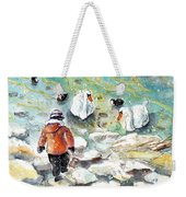 The Child And The Birds On Lake Constance Weekender Tote Bag