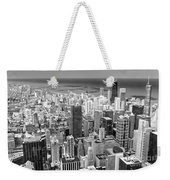 0036 Chicago Skyline Black And White Weekender Tote Bag