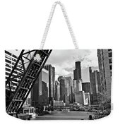 0365 North Branch Chicago River Black And White Weekender Tote Bag