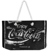 Coca Cola Sign Black And White Weekender Tote Bag