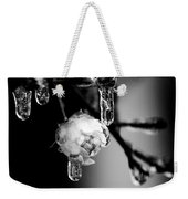 Rose And Frozen Leafs In Cold Winter Tones Weekender Tote Bag
