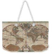 1691 Sanson Map Of The World On Hemisphere Projection Weekender Tote Bag by Paul Fearn