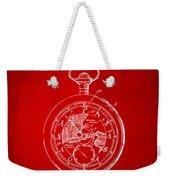 1916 Pocket Watch Patent Red Weekender Tote Bag