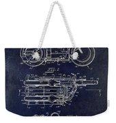 1950 Motorcycle Patent Drawing Blue Weekender Tote Bag
