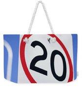 20km Road Sign Weekender Tote Bag