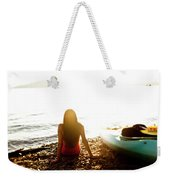 A Beautiful Young Woman Relaxes Weekender Tote Bag