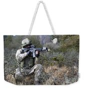 A Georgian Soldier Provides Security Weekender Tote Bag