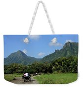 A Group Of Atv Quad Riders Take Weekender Tote Bag