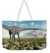 A Herd Of Diplodocus Sauropod Dinosaurs Weekender Tote Bag