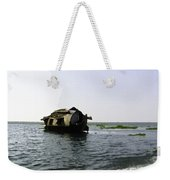 A Houseboat Moving Placidly Through A Coastal Lagoon In Alleppey Weekender Tote Bag