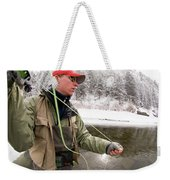 A Man Fly Fishing On The Cache La Weekender Tote Bag