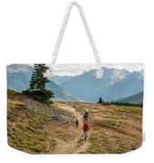 A Mother And Daughter Mountain Biking Weekender Tote Bag