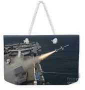 A Rim-7 Sea Sparrow Missile Is Launched Weekender Tote Bag
