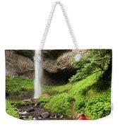 A Woman Admires Latourel Falls On June Weekender Tote Bag