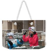 A Woman And Child Playfully Throwing Weekender Tote Bag