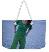 A Woman Having Fun On The Cracked Earth Weekender Tote Bag