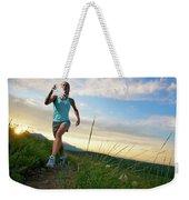A Woman Trail Running Near Boulder, Co Weekender Tote Bag