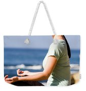 A Women Meditates On The Beach Weekender Tote Bag