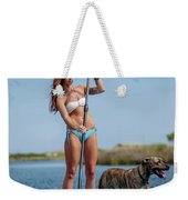 A Young Woman And Her Dog Sup Weekender Tote Bag