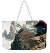 A Young Woman Gazes At Cerro Fitzroy Weekender Tote Bag