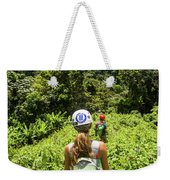 A Young Woman Hikes Through The Jungles Weekender Tote Bag