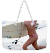 A Young Woman Is Running Weekender Tote Bag