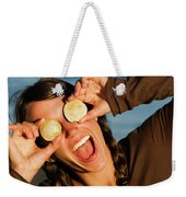 A Young Woman Smiles And Sticks Weekender Tote Bag