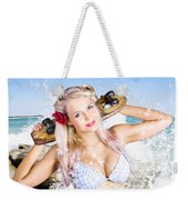 Active Sexy Summer Beach Babe With Skateboard Weekender Tote Bag