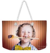 Adorable Little Boy Cooking Chocolate Easter Cake Weekender Tote Bag