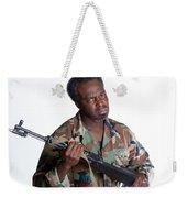African American Man With Gun Weekender Tote Bag