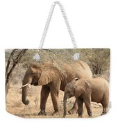 African Elephant Mother And Calf Weekender Tote Bag