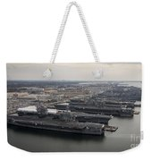 Aircraft Carriers In Port At Naval Weekender Tote Bag by Stocktrek Images