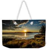 Alaskan Midnight Sun Over The Lake Weekender Tote Bag