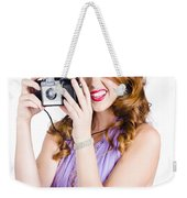 Amateur Photographer Practising With Retro Camera Weekender Tote Bag