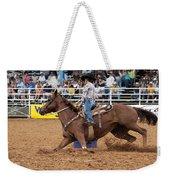 American Rodeo Female Barrel Racer White Blaze Chestnut Horse II Weekender Tote Bag by Sally Rockefeller