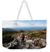 An Athletic Female Hiker Hikes Weekender Tote Bag