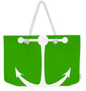 Anchor In Green And White Weekender Tote Bag