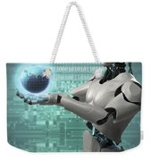 Android Holding Globe Weekender Tote Bag
