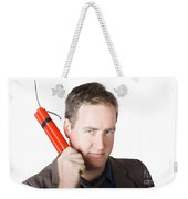 Angry Business Man Holding Stick Of Dynamite Weekender Tote Bag